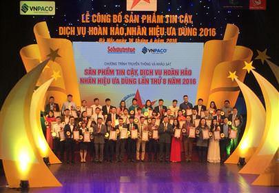SẢN PHẨM TIN CẬY, DỊCH VỤ HOÀN HẢO, NHÃN HIỆU ƯA DÙNG NĂM 2016